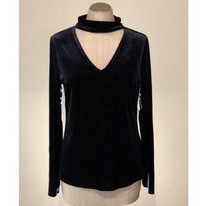 Tahari Mirah Knit Velvet Mock Choker Top